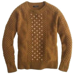 J CREW Embellished Honeycomb Cable sweater #B5288